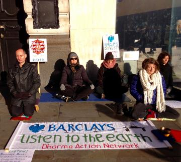 Dharma Action Network for Climate Engagement at Barclays in Piccadilly Circus London.