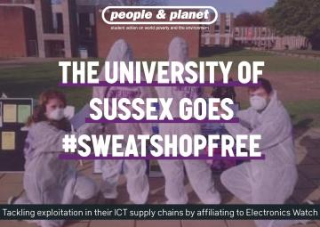 "Graphic of student campaigners overlaid with ""The University of Sussex Goes Sweatshop Free"""