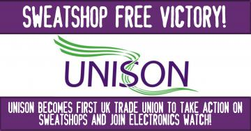 logo of Unison with banner of sweatshop free victory