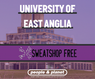 Graphic image of UEA campus with Sweatshop Free logo overlaid