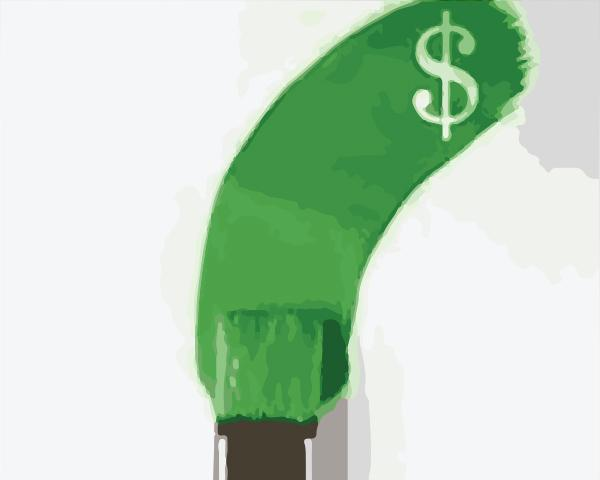 Paint brush making green mark with a $ in the paint.