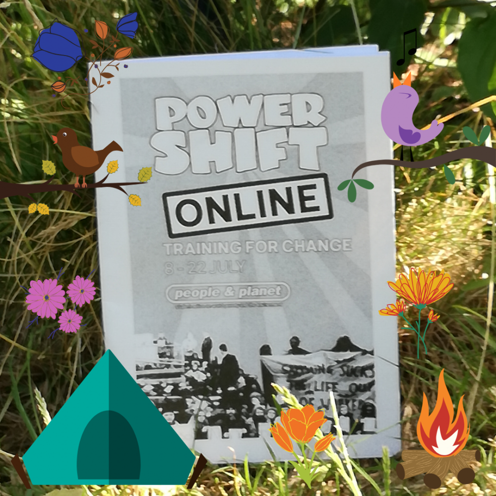 Photograph of the Online Power Shift 2020 booklet in grass propped up against a tree. Bird, flower and tent graphics have been added around the edges in many different colours