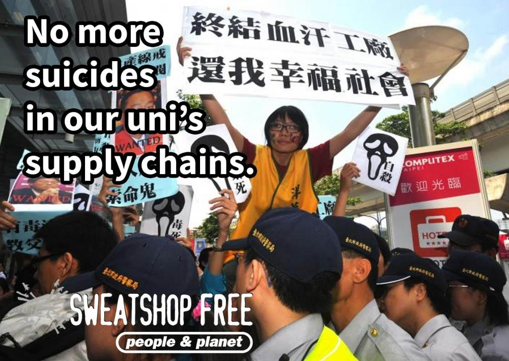 'No more suicides in our uni's supply chains'