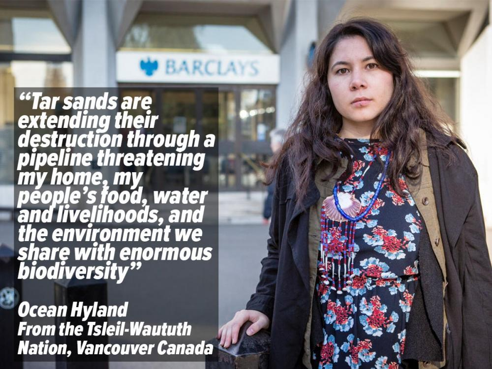 Photo of Ocean Hyland in front of a London Barclays branch with text discussing the Alberta Tar Sands.