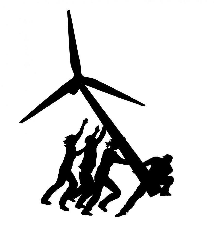 Graphic showing people lifting a wind turbine