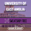 Graphic image of UEA campus with Sweatshop Free logo overlaid