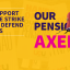 "UCU posted saying ""Our pensions axed"""